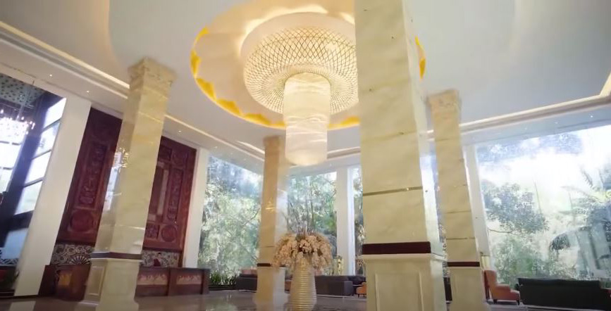 The reception area of the Golden Crown Hotel
