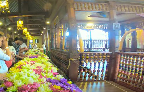 offering flowers at the temple of tooth relic
