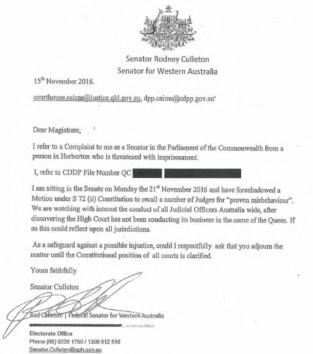 senator-rod-culleton-letter-to-magistrate-15-11-16