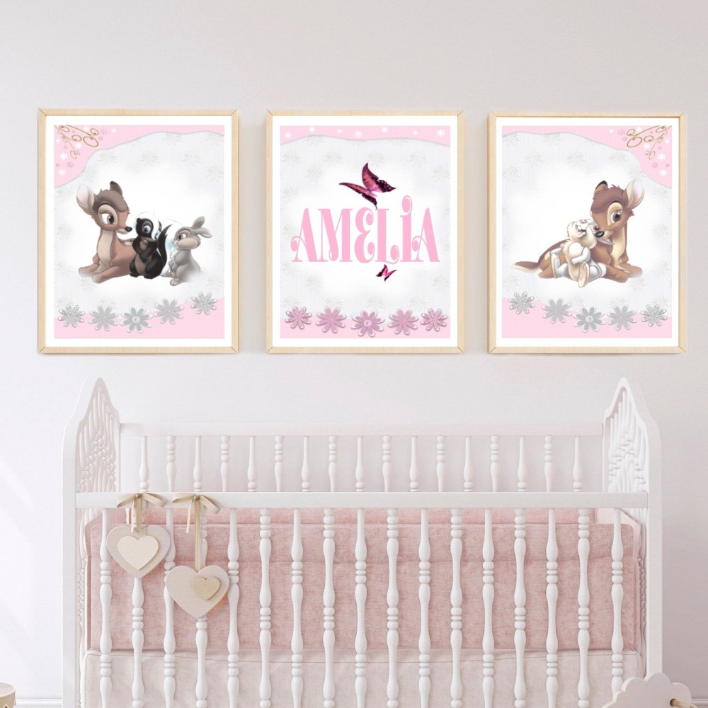 Bambi Personalised Nursery Wall Art Set