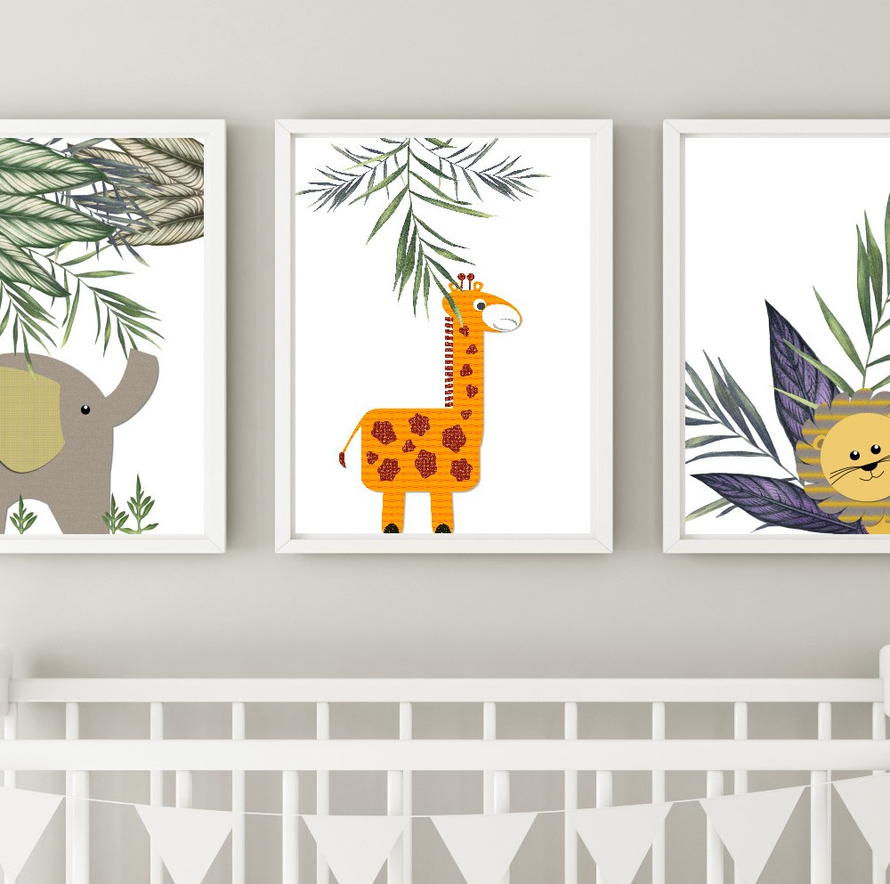 jungle nursery wall art instant download