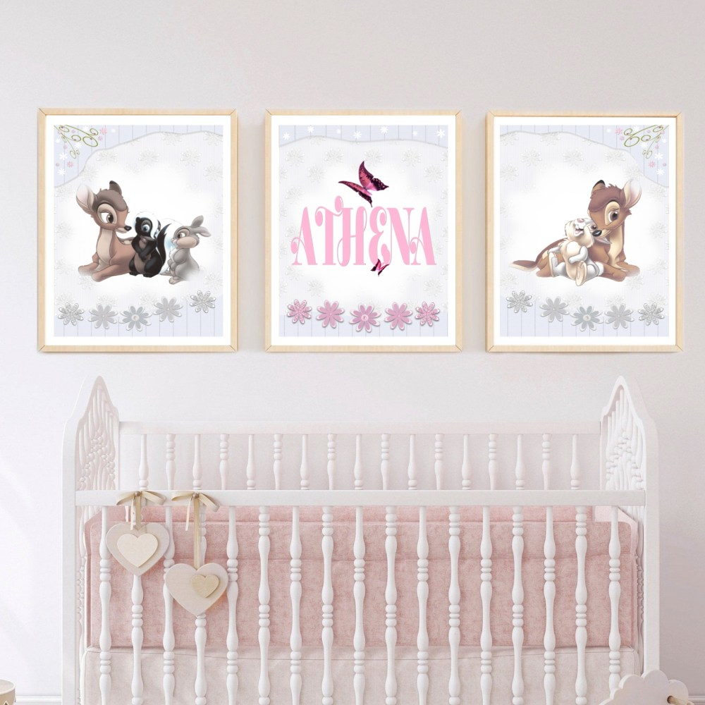 Personalised Bambi Nursery Digital Wall Art Set