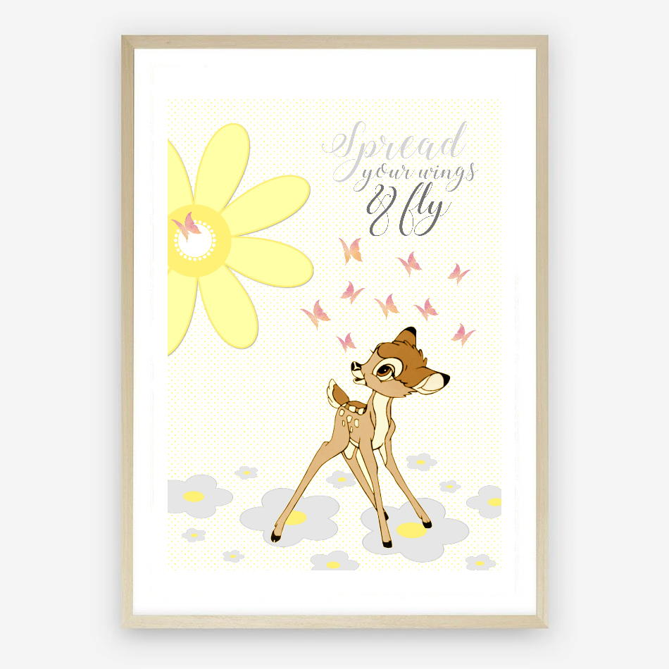 Bambi Digital Nursery Print with a Lemon Pallette