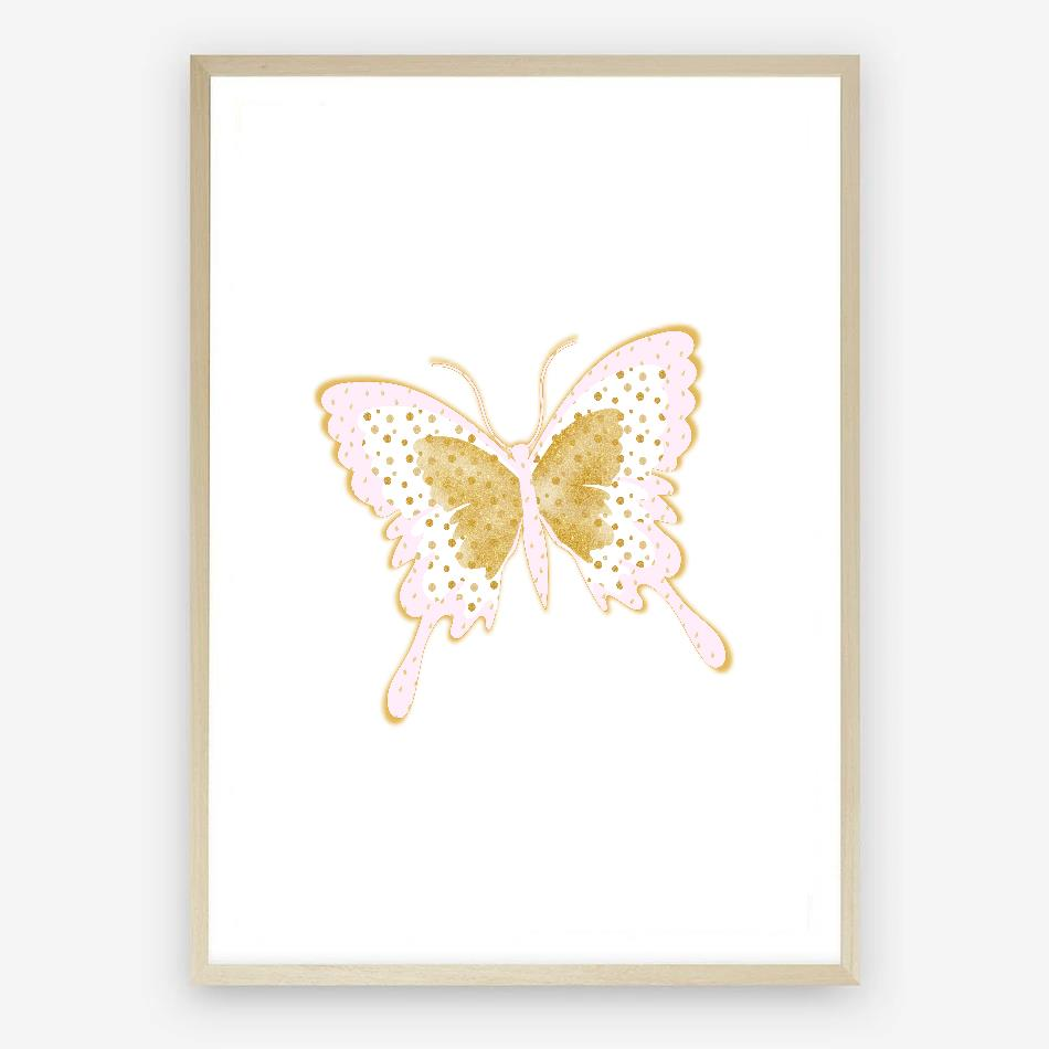 pink & gold butterfly print