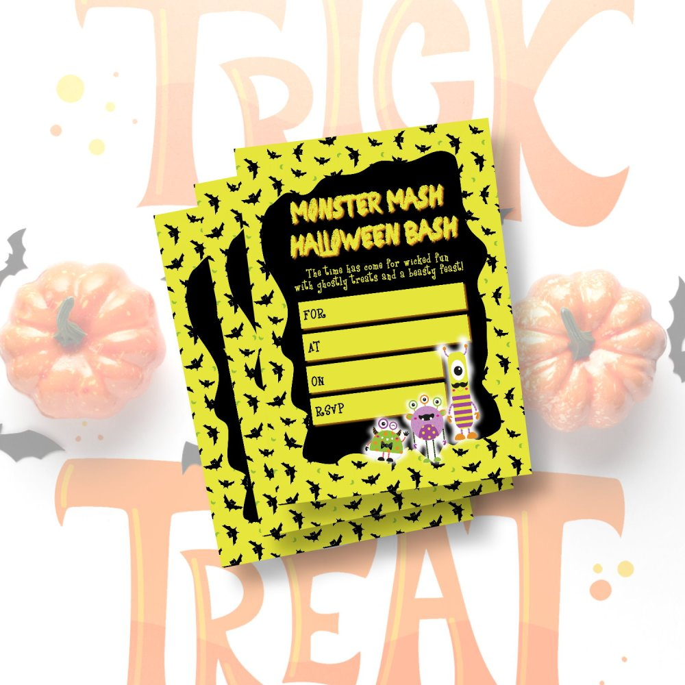 DIY Halloween Monster Mash Kids Party Invitation