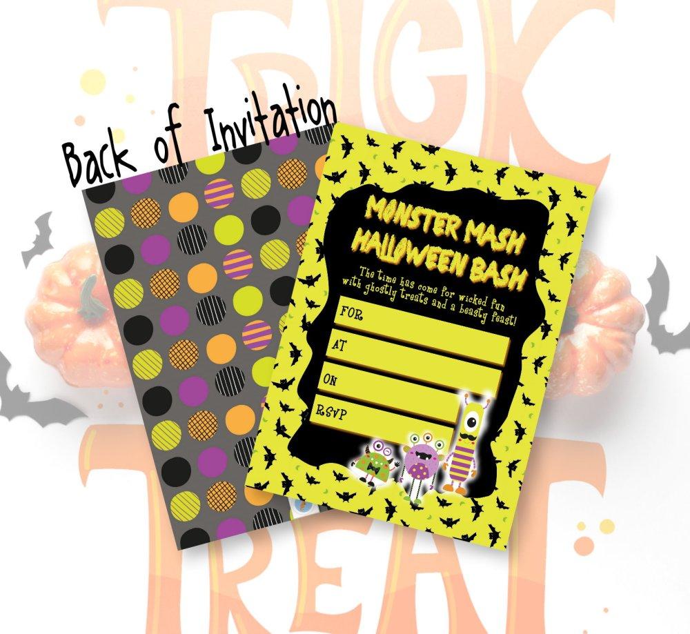 DIY Halloween Monster Mash Kids Party Invitation