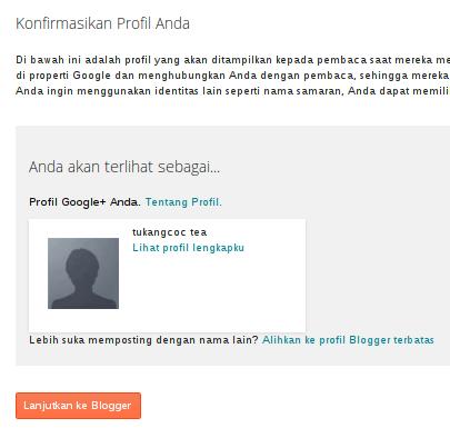 konfirmasi profile blog