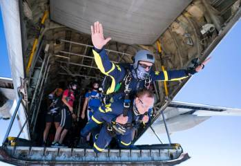 Jim Wigginton is breaking multiple world records by climbing the highest mountains, leaping out of airplanes and diving to the lowest part of the ocean in an effort to raise awareness of thyroid cancer, which took his wife from him in 2013.