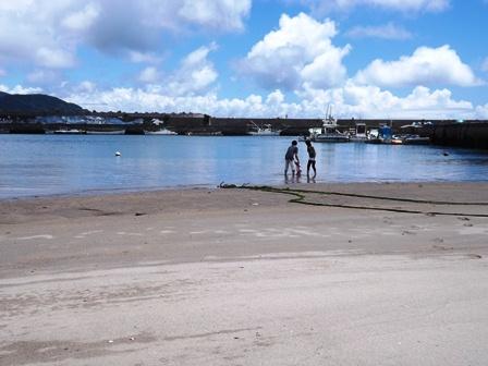 渚で遊ぶ親子