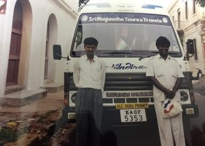 Renuka (right) during his early driving days