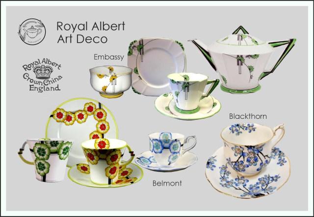 Teekanne Teetassen Art Deco Royal Albert Belmont Embassy Blackthorn Porzellan Teapot Tea Cup