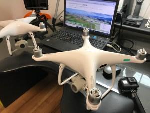 ドローン空撮滋賀カノアドローンラボ 撮影機材phantom4proメイン機とサブ機(予備機)