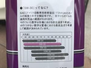 エンジンオイル交換 ガソリンエンジンオイル SN 5W-30 適応温度