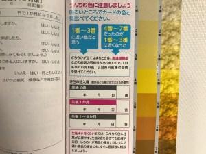 母子手帳の便色カード 赤ちゃんのうんち/うんこの色見本