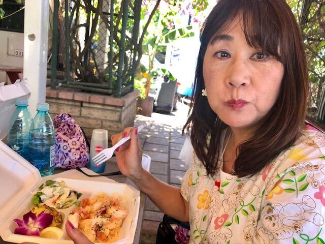 60代ガーリックシュリンプを食べる(ハレイワタウン)