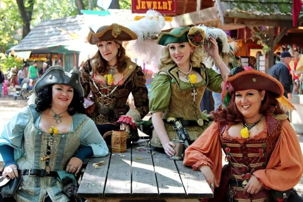 Kansas City Ren Fest - four women dressed in 16th century costumes
