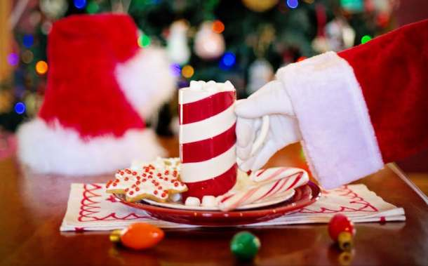 Holiday events and activities in Kansas City - plate of cookies with Santa's hand