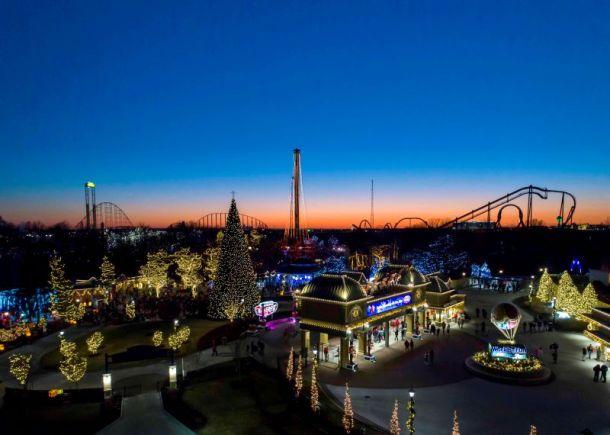 Worlds of Fun Winterfest - park lit up with Chrismas lights