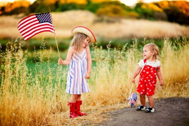 Kids with an American flag