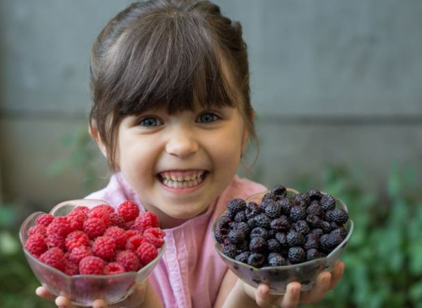 Kansas City u-pick berry patch - young girl holding two bowls of fresh-picked blueberries and raspberries