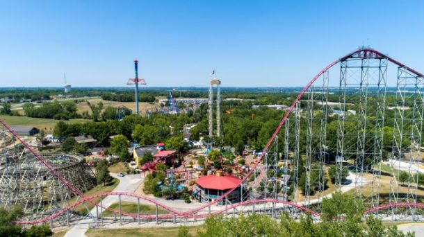 Worlds of Fun - aerial image of the Mamba roller coaster