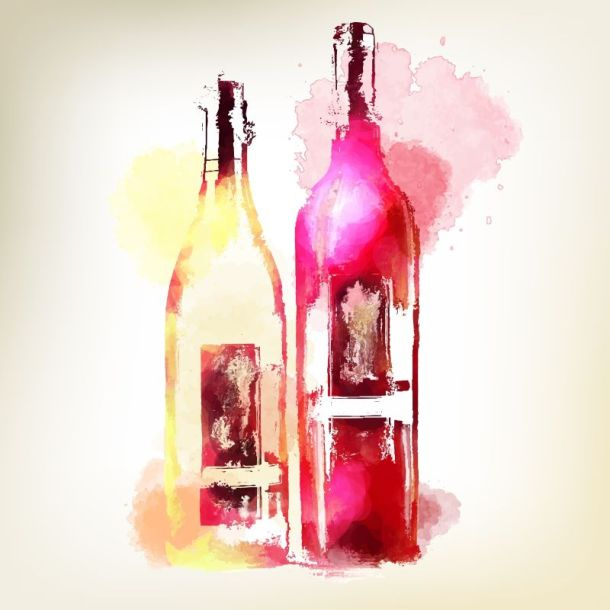 wine and paint party at National Museum of Toys and Miniatures - watercolor of two wine bottles