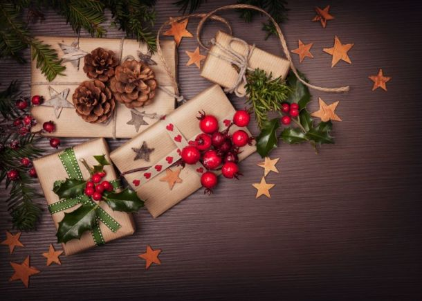 Kansas City Christmas Holiday Markets - wrapped presents with holly berries