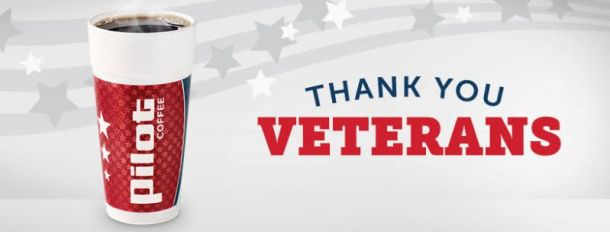 Kansas City Veterans Day deals - Pilot J coffee