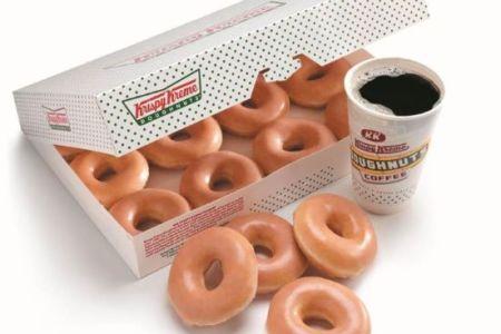 Kansas City Krispy Kreme - box of donuts and cup of coffee