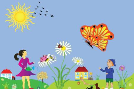 Events at the Overland Park Arboretum - cartoon of kids in the springtime