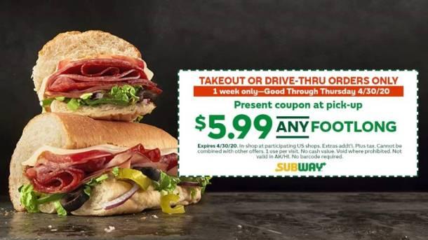 Subway footlong deals