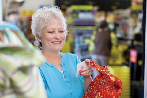 Senior shopper in Dollar General Store