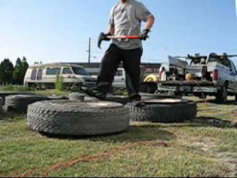 Changing semi truck tires