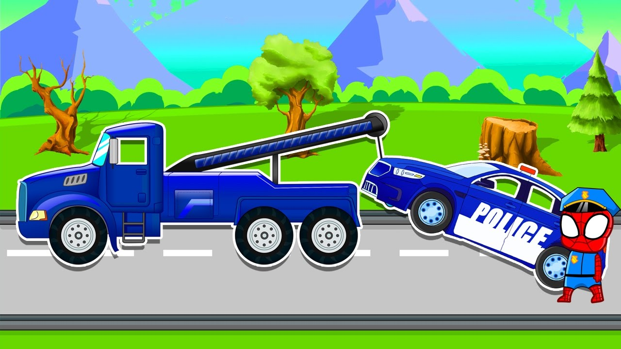 Police cars for children Tow Truck Repair  - Police car for Kids | kids truck video