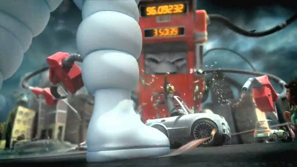 Michelin Man Tyre Tire Advert Commercial   Evil Gas Pump   The Right Tyre Changes Everything