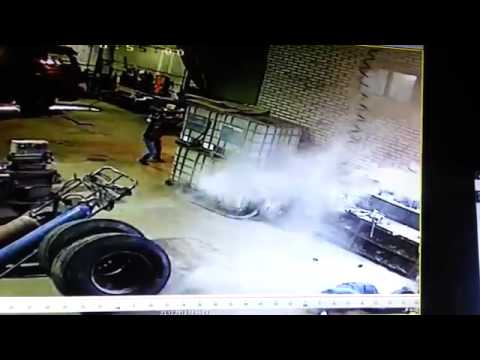 Guy Goes Flying From Exploding Tire Accident at Shop