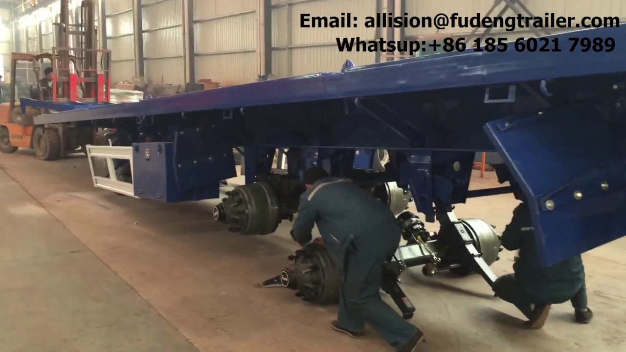 How to install the suspension , axle to flat bed truck trailer , 3 axle container semi trailer