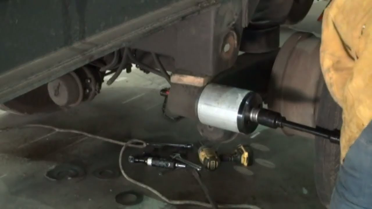 Hendrickson suspension bushing replacement on semi trailer