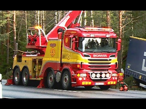 Scania Boniface Rotator Truck - Heavy Recovery of Semi Trailer - Sweden