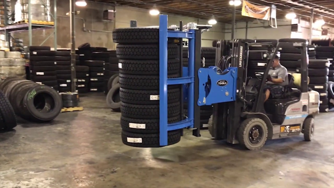 Easy Stacker #94100 - How to stack large truck tires with new forklift equipment attachment