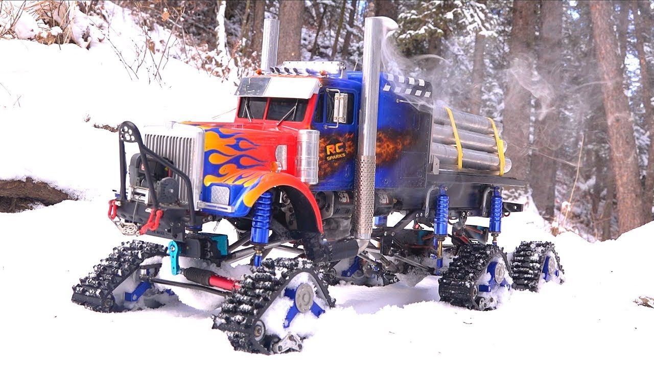 "6X6X6 TRACKED SEMI TRUCK w/ Smoke Kit - Breaks Trail in SNOW ""OPTIMUS OVERKILL"" 