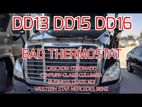 Freightliner Cascadia DD13 DD15 DD16 overheating bad thermostat stuck close