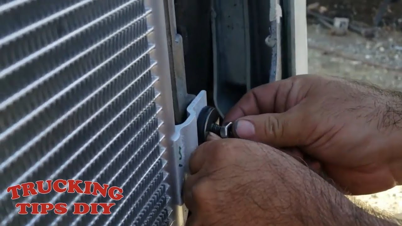 How to remove and replace AC condenser and charge freon on  Freightliner cascadia semi truck