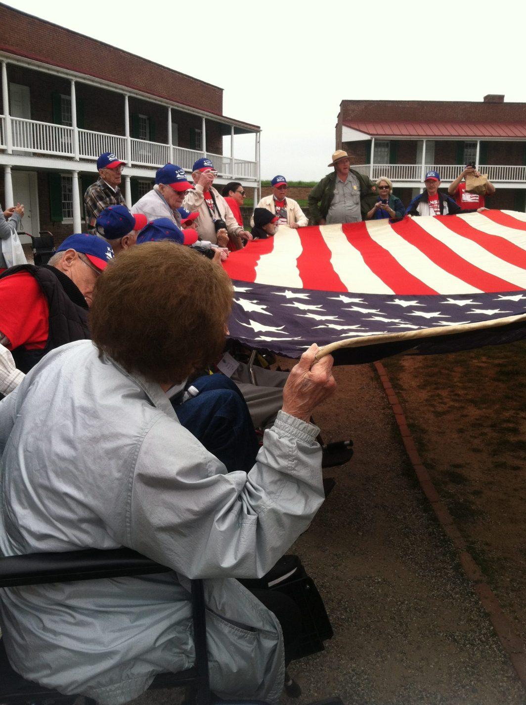 Kansas Honor Flight veterans at Fort McHenry