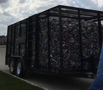 Trailer of Cans for Kansas Honor Flight
