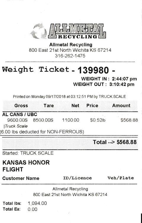 Allmetal Receipt for Kansas Honor Flight