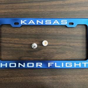 Kansas Honor Flight License Plate Frame Blue