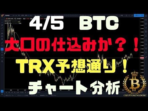 4/5【BTC、TRX】BTC大口の仕掛け注意!そしてTRX予想通り瀑上げ!チャート分析!