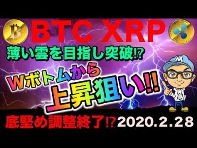 【仮想通貨BTC・XRP】ビットコイン・リップルWボトムからの上昇狙う‼︎薄い雲を突破⁉︎仮想通貨チャート予想。