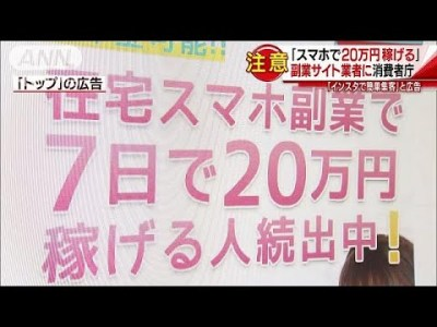 「スマホで20万円稼げる」 副業サイトの会社に注意(19/02/13)